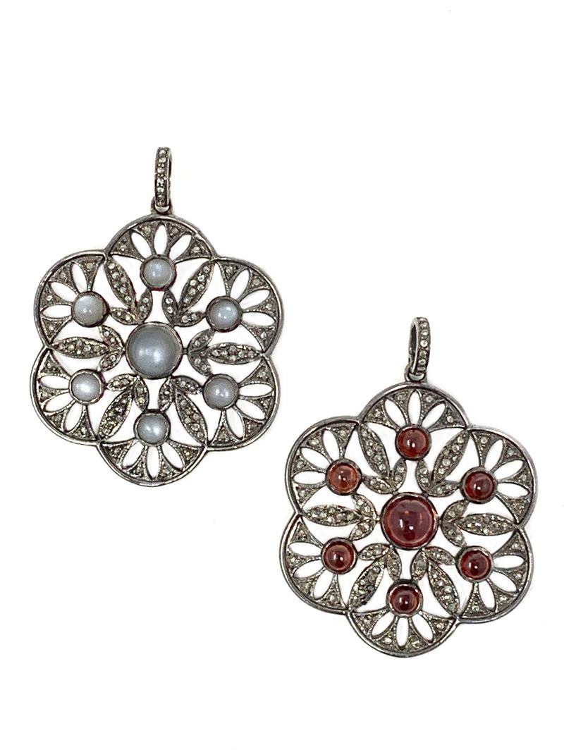 Vintage Style Pave Diamond Flower Pendant (Gray Moonstone or Garnet)