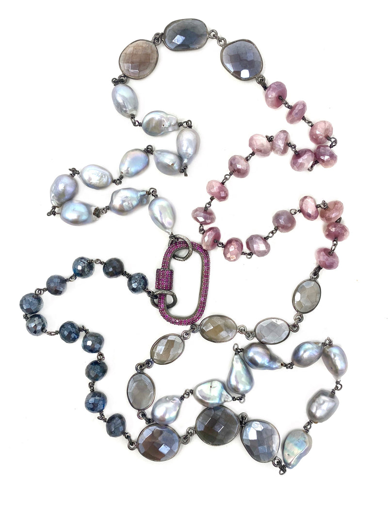 Mixed Gemstones and Pearls with Pink Sapphire Carabiner Clasp