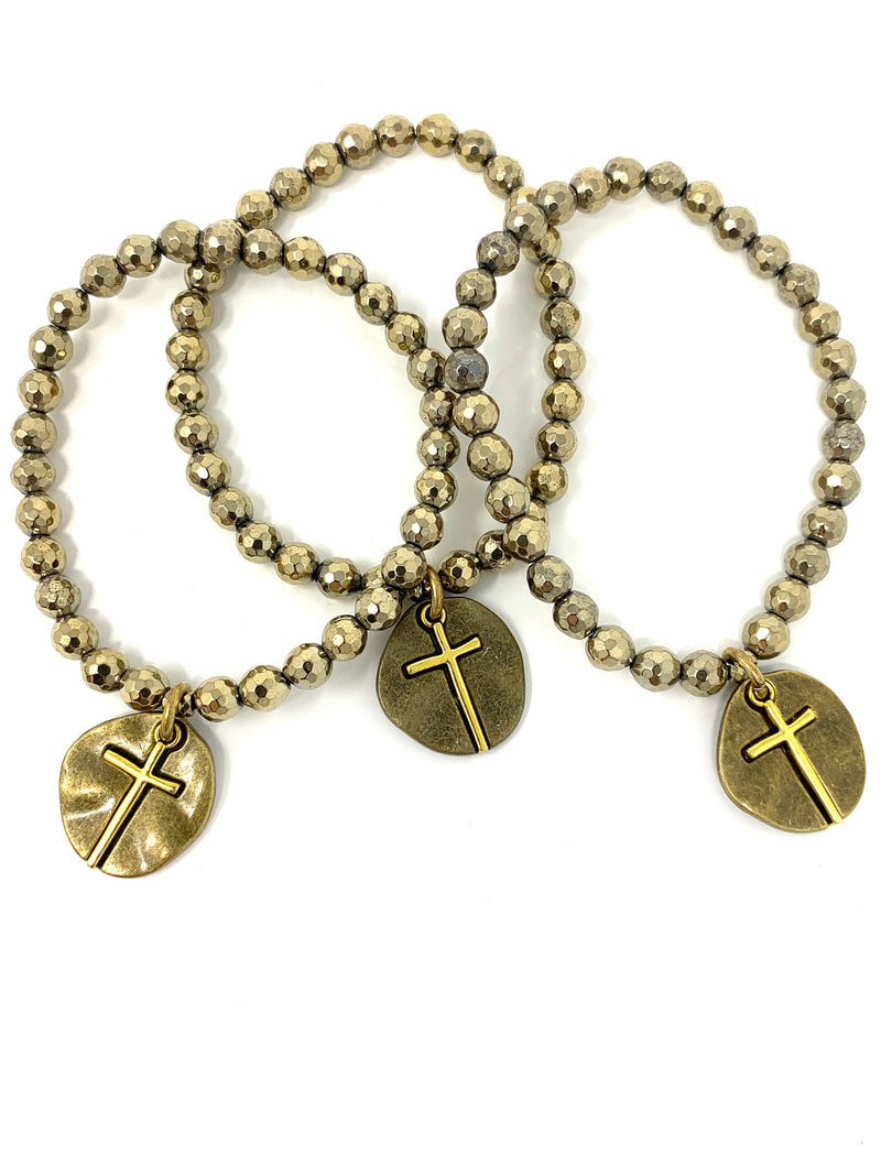 Pyrite Beaded Bracelet with Two Tone Cross Charm