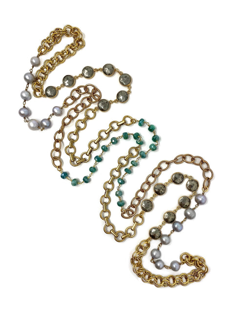 Antiqued Brass Chains Combined with Silver Pearls, Green Quartz and Pyrite Chain