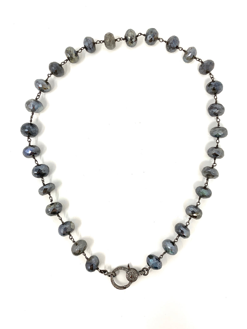 Mystic Labradorite Large Rondelle Chain with Pave Diamond Clasp