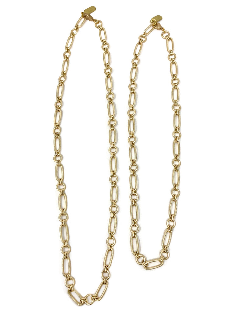 Matte Gold Alternating Paper Clip Circle Chain