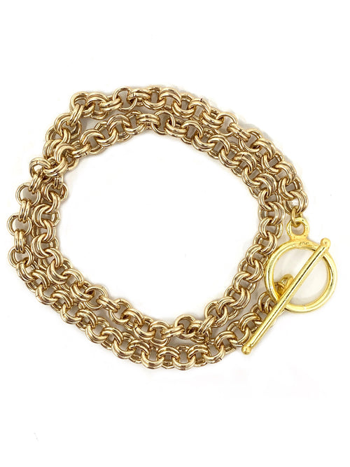Gold Double Rolo Chain Bracelet or Chocker with Toggle