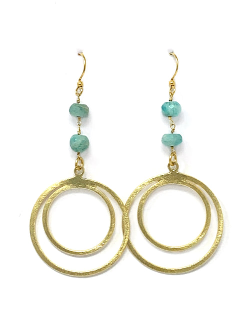 Amazonite and Gold Double Circle Earrings