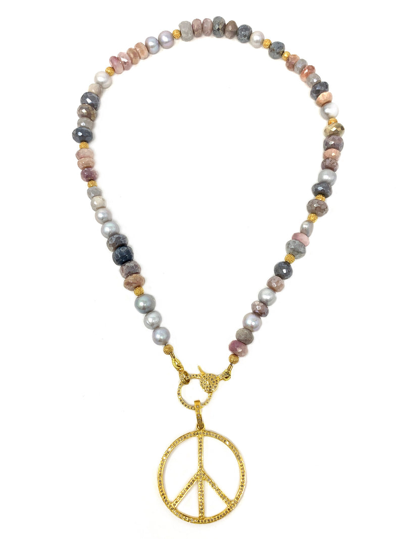 Vermeil Pave Diamond Peace on Gemstone and Pearl Chain