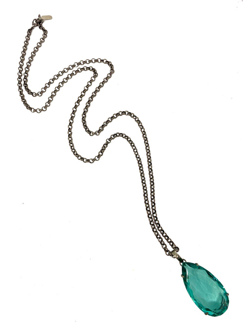 Aqua Quartz Pendant on Gunmetal Chain
