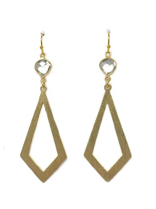 Quartz and Diamond Shaped Brushed Gold Earrings