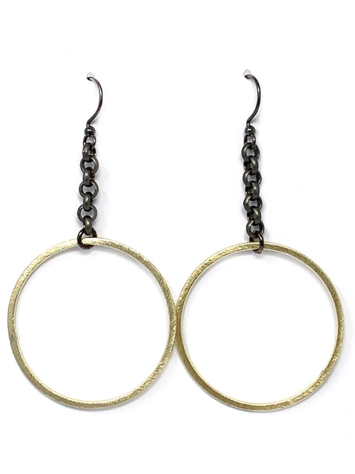 Gold and Gunmetal Chain Hoop Earrings