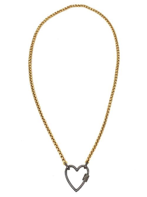 Gold Barrel Chain with Sterling and Pave Diamond Heart Lock/Pendant
