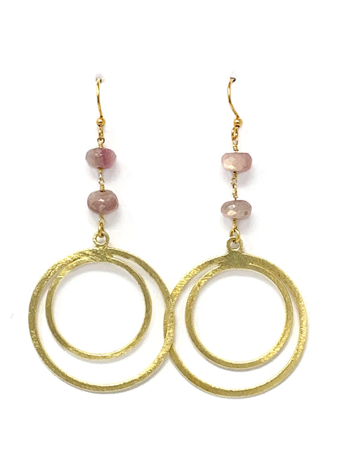 Pink Quartz and Gold Double Circle Earrings