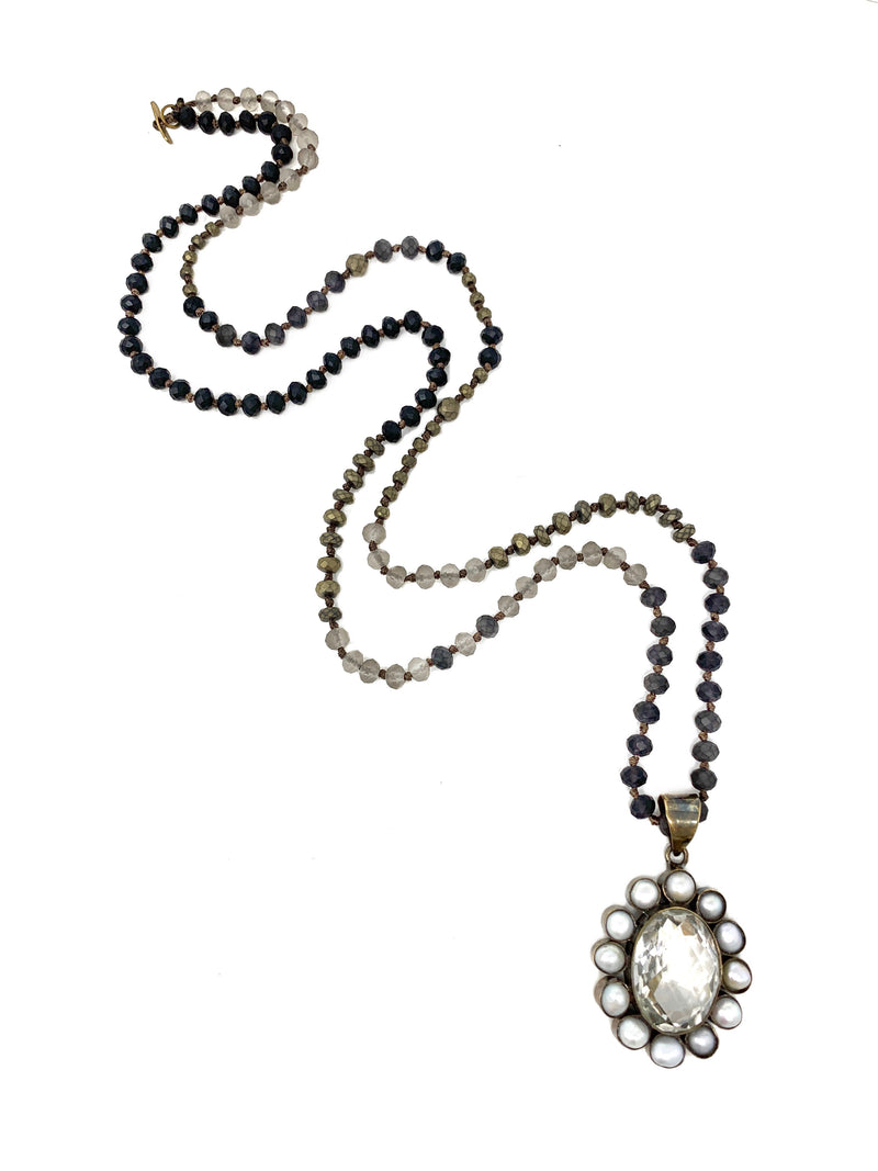 Mixed Black, Gray and Pewter Beads with Pearl and Quartz Flower Pendant