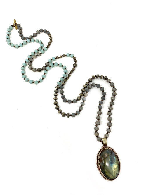 Assorted Handknotted Small Beads with Tibetan Labradorite Pendant