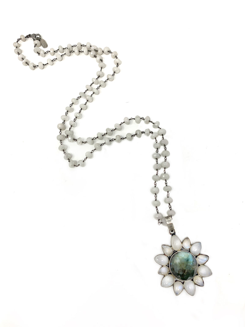 Moonstone and Labradorite Flower Pendant on Moonstone Chain