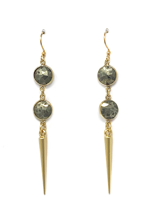 Pyrite and Point Drop Earrings