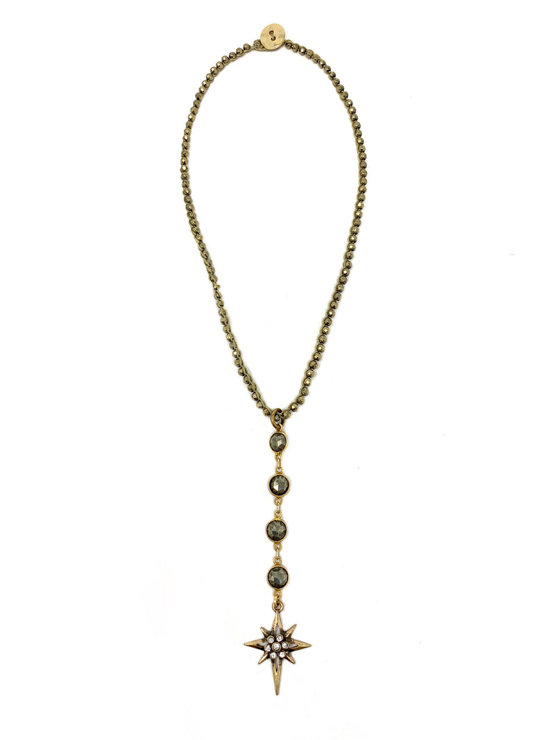 Crochet and Bezel Pyrite Y Necklace with Star