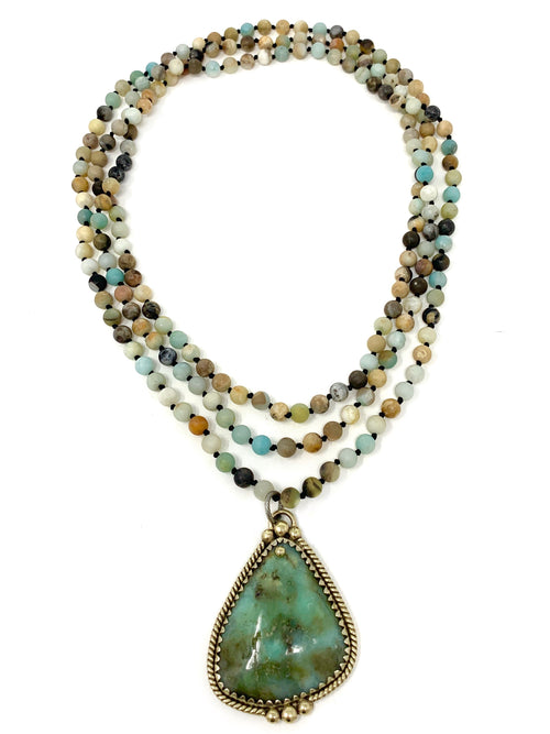Amazonite Handknotted Beads with Tibetan Amazonite Pendant