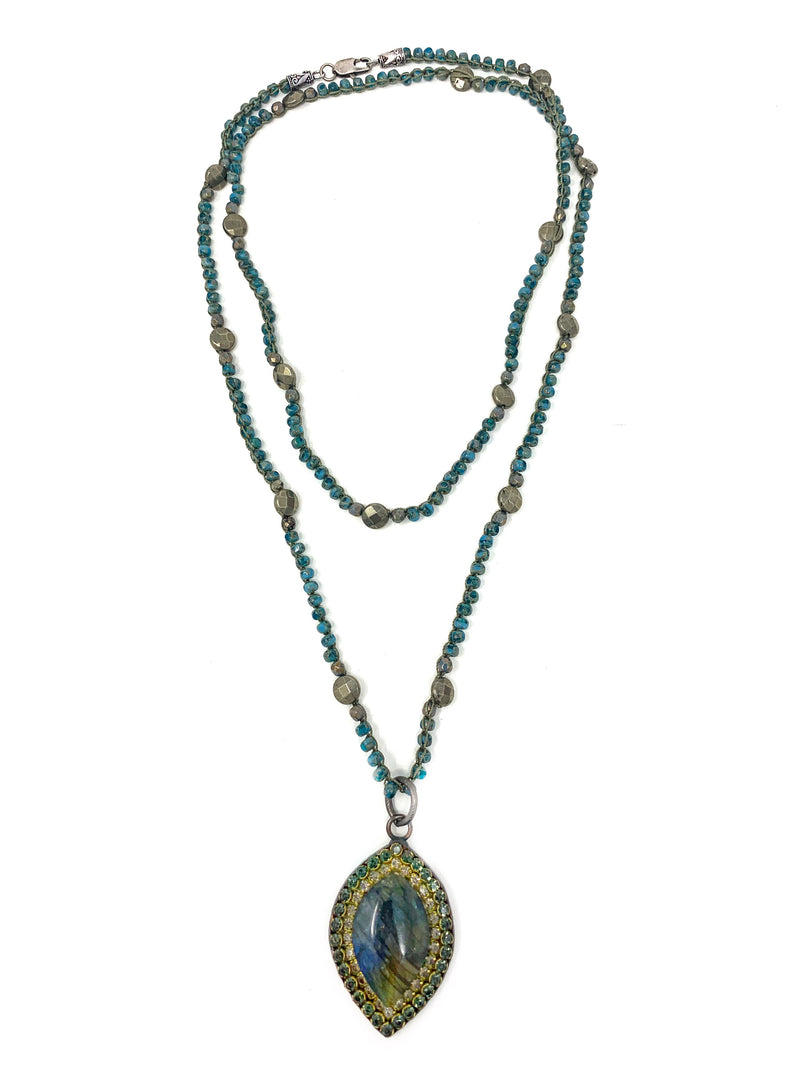 Crochet Czech and Pyrite Bead Chain with Labradorite and Crystal Pendant