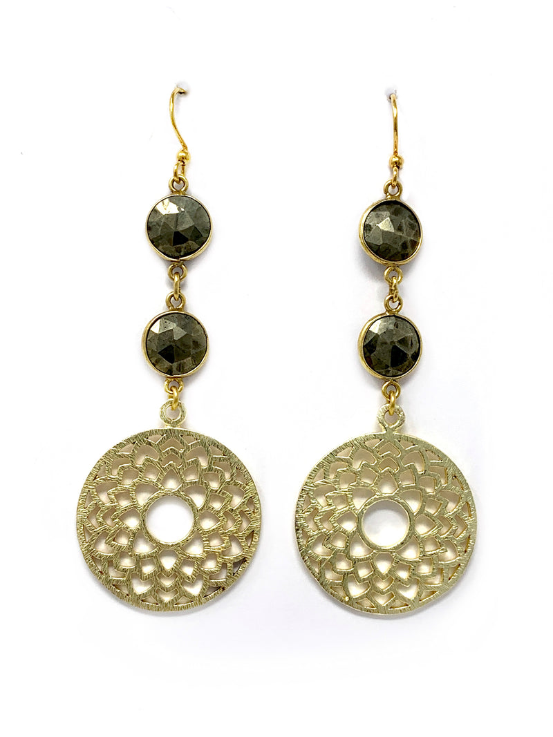 Pyrite and Gold Flower Earrings