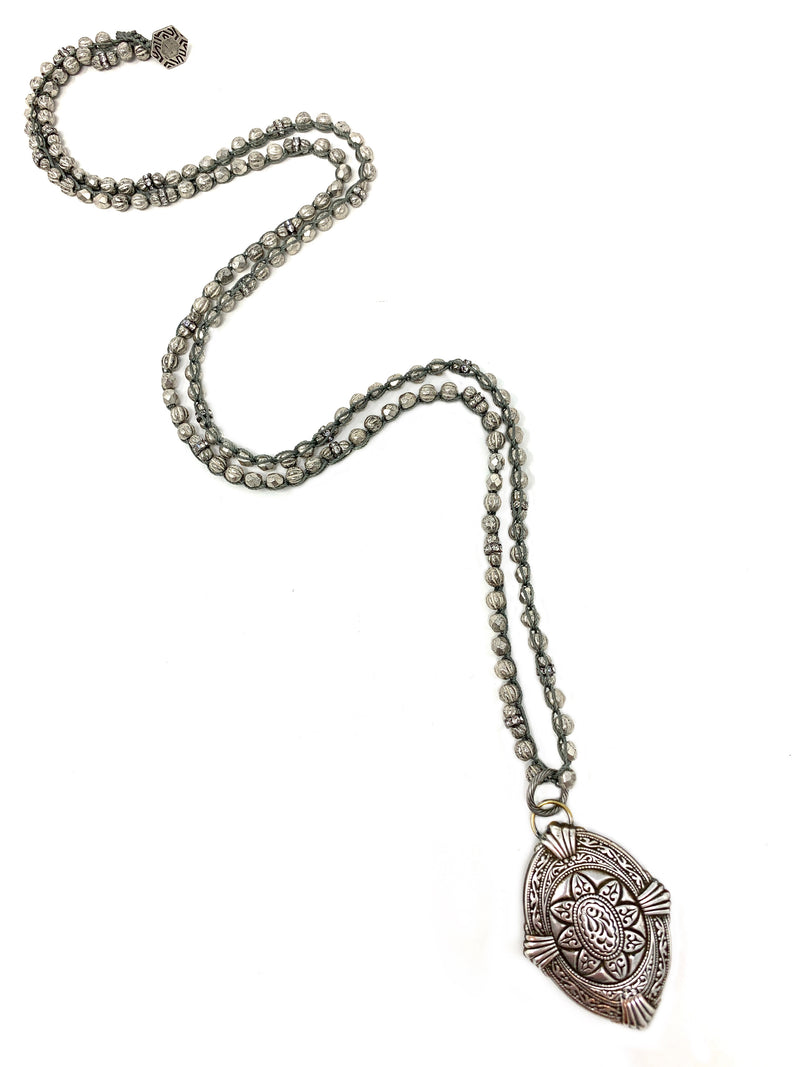 Silver Beaded Crochet Chain with Intaglio Vintage Silver Pendant
