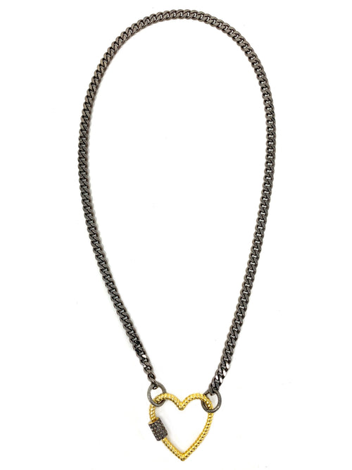 Gunmetal Curb Chain with Pave Diamond Vermeil Heart Lock/Pendant