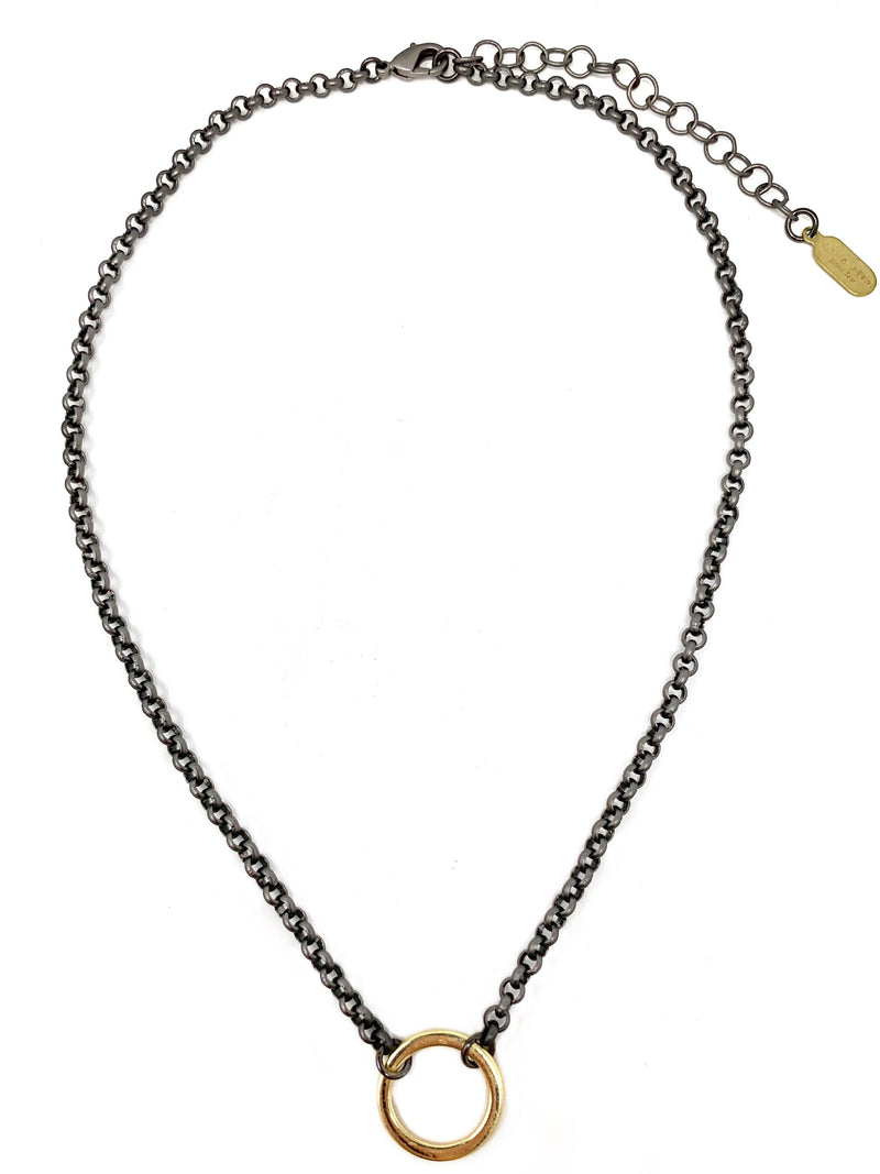 Gunmetal and Gold Circle Necklace