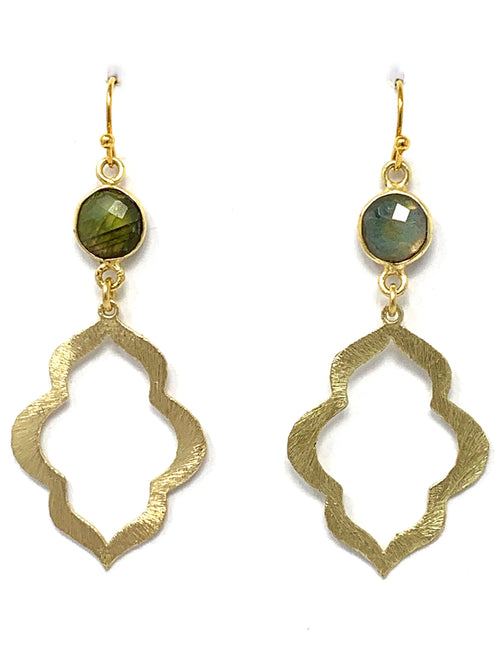 Labradorite and Scallop Edge Gold Drop Earrings