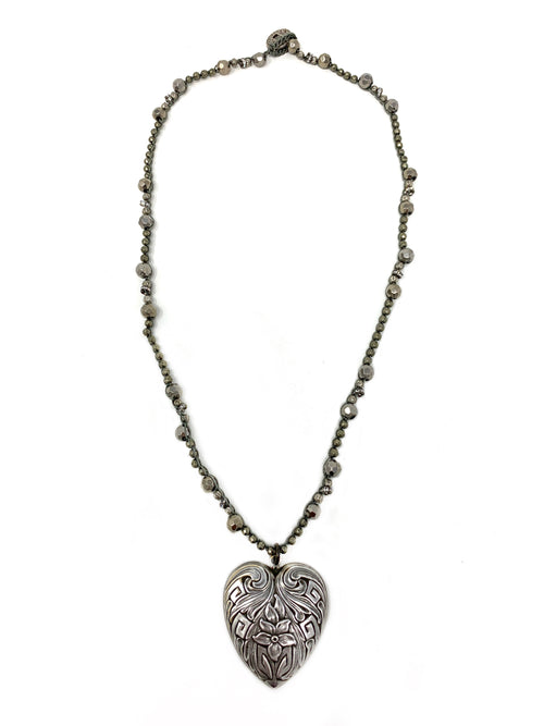 Crochet Pyrite and Silver Beads with Vintage Intaglio Heart Pendant
