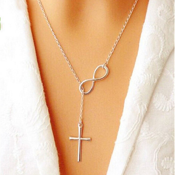Elegant Silver Plated Cross Infinity Pendant Chain Party Necklace