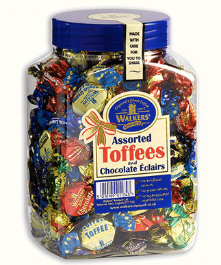 Walkers assorted Toffee's and Chocolate Eclairs Christmas Jar