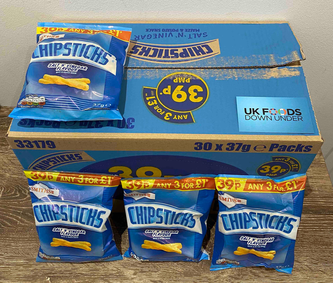 Chipsticks Salt and Vinegar crisps 30 pack box
