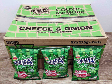 Squares Cheese and Onion 32 Pack Box