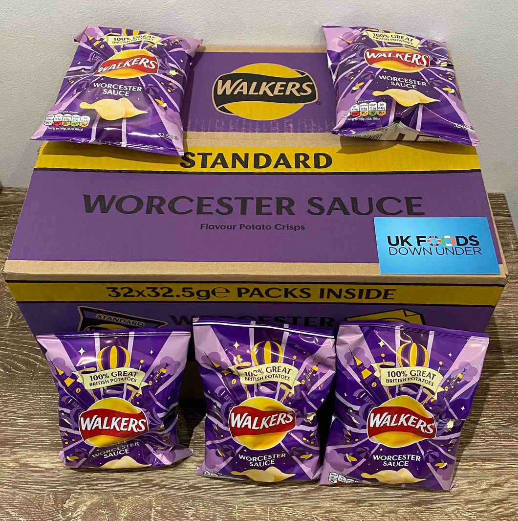 Walkers Worcester Sauce Flavoured Crisps 32 Pack Box