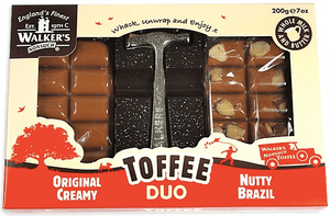 Walkers Original / Nutty Brazil Toffee Twin Christmas Pack with Toffee Hammer
