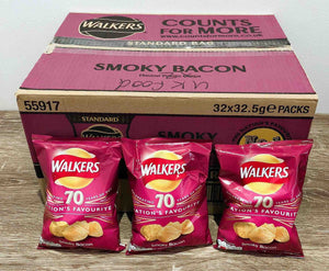Walkers Smokey Bacon Flavoured Crisps 32 Pack Box