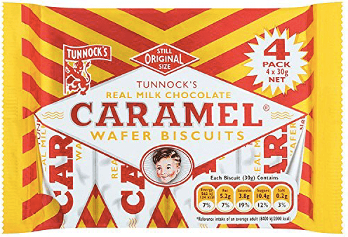 Tunnock's Milk Chocolate Caramel Wafers 4 pack