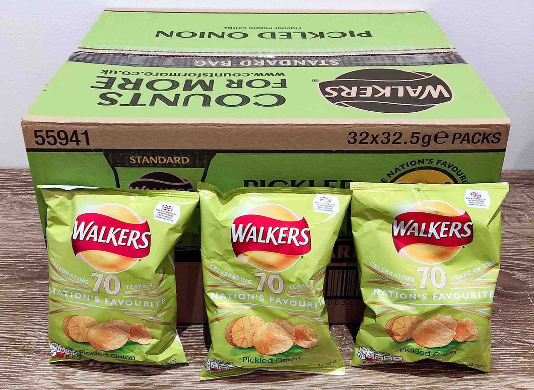 Walkers Pickled Onion Flavoured Crisps 32 Pack Box