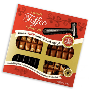 Walkers Original / Roasted Hazelnut / Liquorice / Fruit and Nut Toffee Christmas Pack with Toffee Hammer