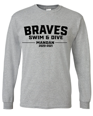 Mandan Swim & Dive Long Sleeve Cotton/Poly T-shirt (Design 1)