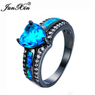 Blue Heart Zircon Blue Fire Opal Heart Ring Fashion
