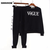 Autumn Winter 2 Piece Set Women VOGUE Letters