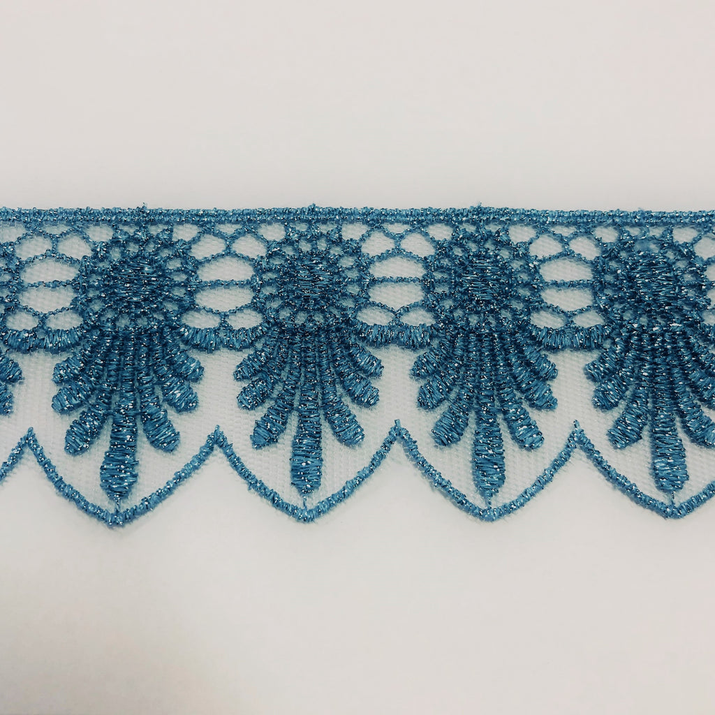 Scalloped Metallic Lace Trim - Light Blue