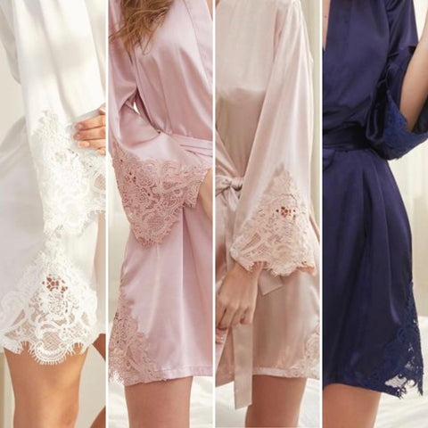 Satin Lace Personalized Bridal Party Robes - Whisper - Shop On Eleven