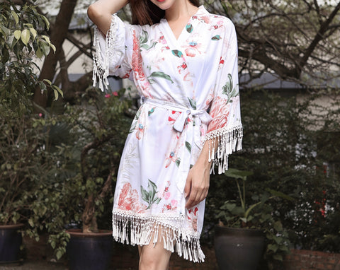 Luna Cotton Floral Fringe Lace Robe in White - Shop On Eleven