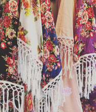 8 Robes Gypsy Soul Fringe Bridesmaid Robe Kimono Bridesmaid Robes  Bridal Kimonos - Floral Boho Satin - Getting Ready Festival Retreat
