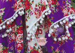 Bridesmaid Robes READY to SHIP Pom Poms Purple Floral Kimono Floral Cotton Robe Beach Wedding Party Getting Ready Purple - Shop On Eleven