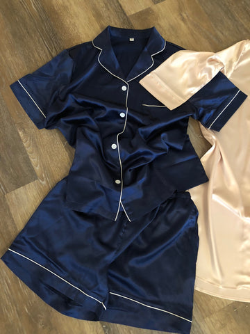 Satin Pajamas - Bridal Party Short Set - Shop On Eleven