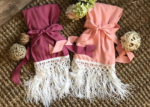 Bridal Party Robes / Fringe Kimono / Boho Bridesmaid / Solid Cotton / Wedding Statement Sleeve / Gifts for Bridesmaids / Mauve Blush Rose - Shop On Eleven