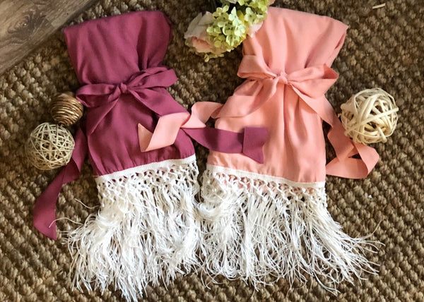 Fringe Kimono Robe Boho Shabby Chic Bridesmaid Robes Statement Sleeve Bride Prom Party Getting Ready Southwestern Wedding Desert Vibe