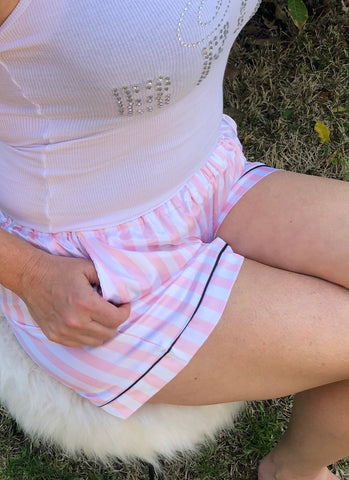 Bridal Pajama Shorts  - Bridal Party Pajamas - Bridesmaid Short -  Pink White Stripe with Black  - Pajama Bridal Party - Bachelorette Shorts - Shop On Eleven