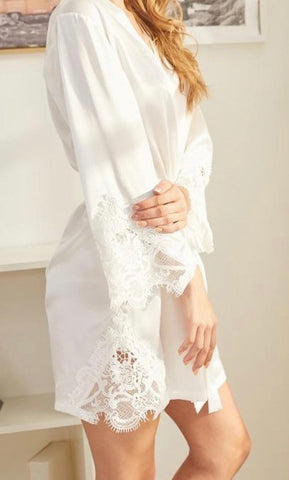 Whisper Lace Brides Robe in White - Shop On Eleven